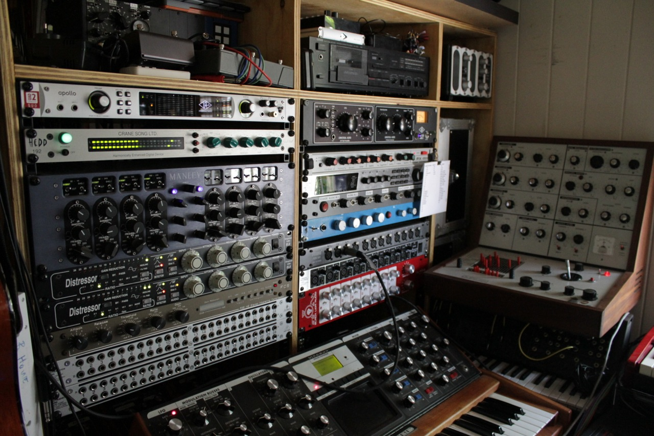 In The Studio With Lawrence English Headphone Commute Live Recording Setup 2010 Click To Zoom